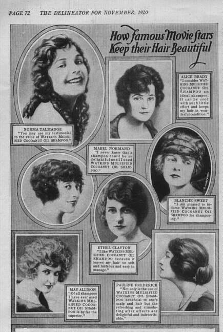 1920 Advertisement: How Famous Movie Stars Keep Their Hair Beautiful